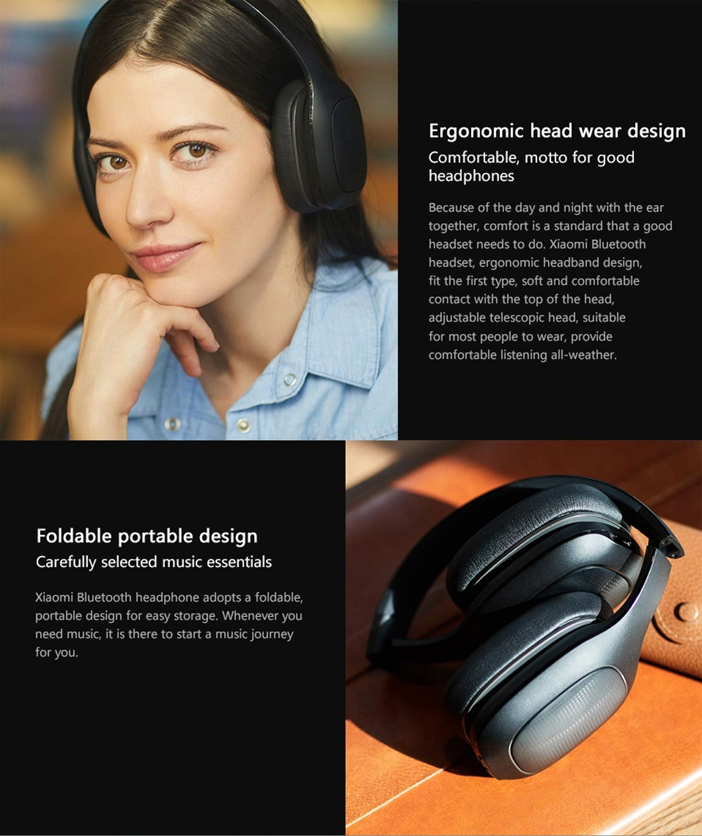 Original Xiaomi Bluetooth Headphone 40mm Dynamic Driver AptX Bass Stereo Headset with Dual Mics - Black