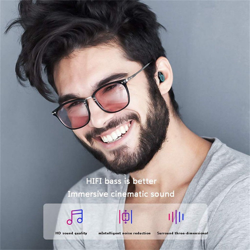 X6 TWS Bluetooth 5.0 Earbuds 3000mAh Support Charing for Phones About 4 Hours Working Time - Black