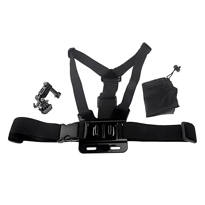 Adjustable Strap Comfortable Elastic Chest Belt 3-way adjustment base GoPro Hero 4 3 2 1 SJ4000 - Black