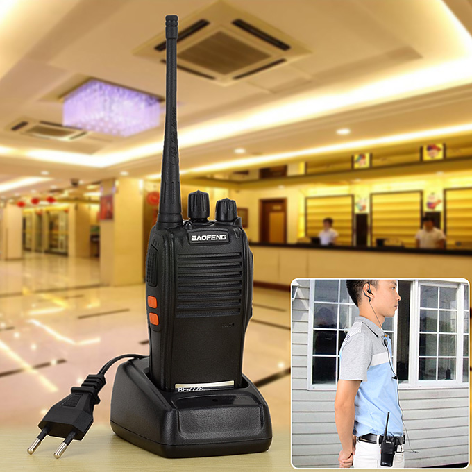 BAOFENG BF-777S 400~470MHz 2 Way Radio Walkie Talkie EU Plug 5W 16CH UHF Interphone Transceiver Handheld Intercom - Black