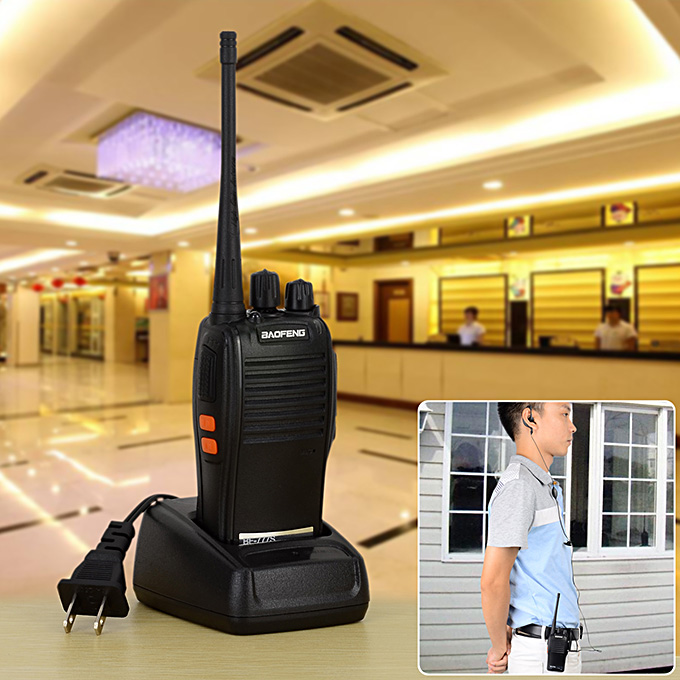 BAOFENG BF-777S 400~470MHz 2 Way Radio Walkie Talkie US Plug 5W 16CH UHF Interphone Transceiver Handheld Intercom - Black