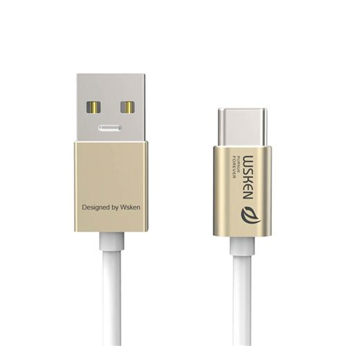 Wsken Type-C 3.0 Charging Data Sync Cable Fast Charge 1 Meter Metal Cable Devices Type-C Connector - Gold
