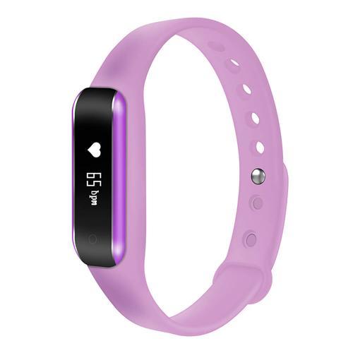 C6B Bluetooth 4.0 Smart Bracelet Heart Rate Monitor Sleep Tracker Call/SMS Reminder Anti-lost IP65 Waterproof Android iOS - Purple