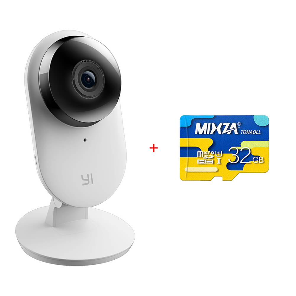 US Edition YI Home Camera 2 32GB Micro SDFHD 1080P Ambarella S2LM 130 Wide Angles Gesture Recognition Human Detection Yi Smart WiFi Camera 2 - White