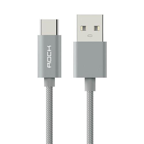 ROCK C2 1.8M Nylon Braided Type-C USB Cable Metal Shell Fast Charge Data Transfer Sync Data Line - Gray