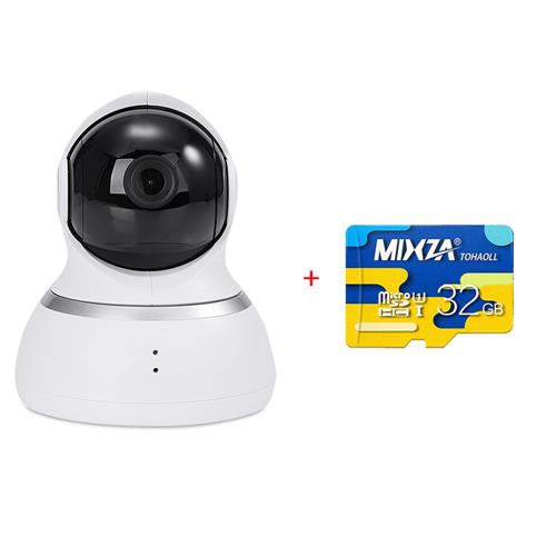 Original Xiaoyi YI 1080p Dome Camera 32GB Micro SD Home Security System WiFi IP Camera 360 Degree Rotation Night Vision Motion Detection Two-way - White(US Plug)