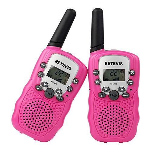 Retevis RT-388 Kids Walkie Talkie Radio RT388 0.5W UHF 446MHz EU Frequency Portable Two Way Radio USB Charger -Pink