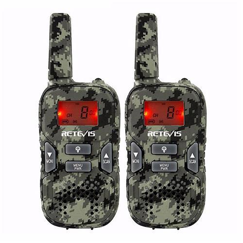 2PCS Retevis RT33 Kids Walkie Talkie Hf Radio 0.5W PMR FRS/GMRS 8/22CH VOX PTT Flashlight LCD Display -Black