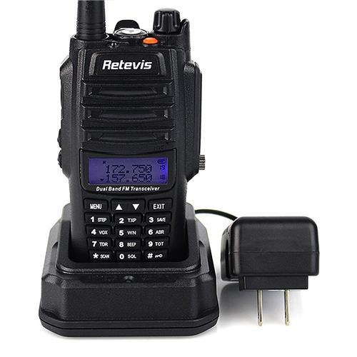 Retevis RT6 Walkie Talkie IP67 Waterproof Anti-dust Transceiver 5/3/1W VHF+UHF Portable Radio -Black