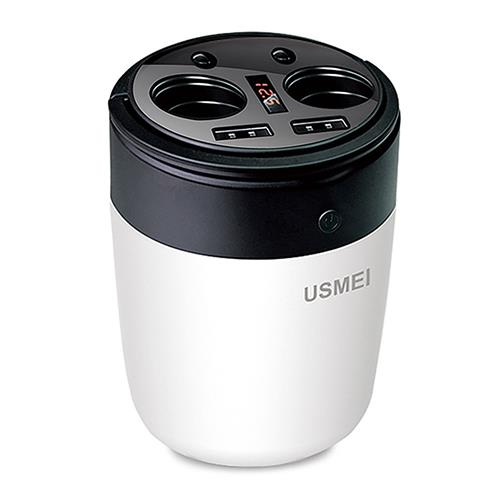 USMEI B1 Multi-functional Cup Car Charger Cigarette Lighters Dual USB Ports Ambient Light - Black + White