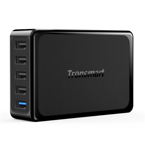 Tronsmart U5PTA EU Plug 54W Quick Charge 3.0 USB Desktop Charger 1 Quick Charge Port 4 VoltIQ Ports 1.5M AC Cable - Black