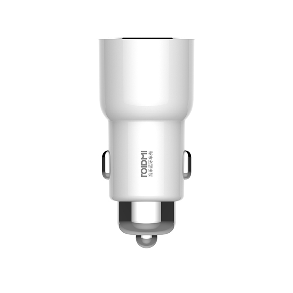 Original Xiaomi Roidmi 3S Music Bluetooth Car Charger 2.4A Fast Charge Cigarette Lighter Dual USB Ports - White