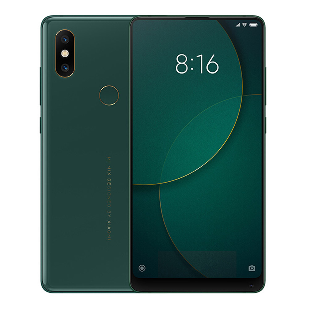 Xiaomi Mi Mix 2S 5.99 Inch 4G LTE Smartphone Snapdragon 845 8GB 256GB 12.0MP Dual Rear Cameras MIUI 9 Type-C Ceramic Body Wireless Charging English Chinese Versio- Jade Green
