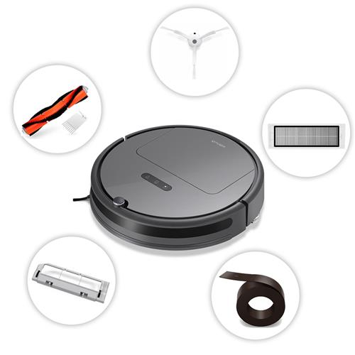 Package ARoborock Xiaowa Plus E35 Robot Vacuum Cleaner International Version - Black + Side Brushes + Rolling Brush + Cleaner Filter + Virtual Wall + Rolling Brush Cover
