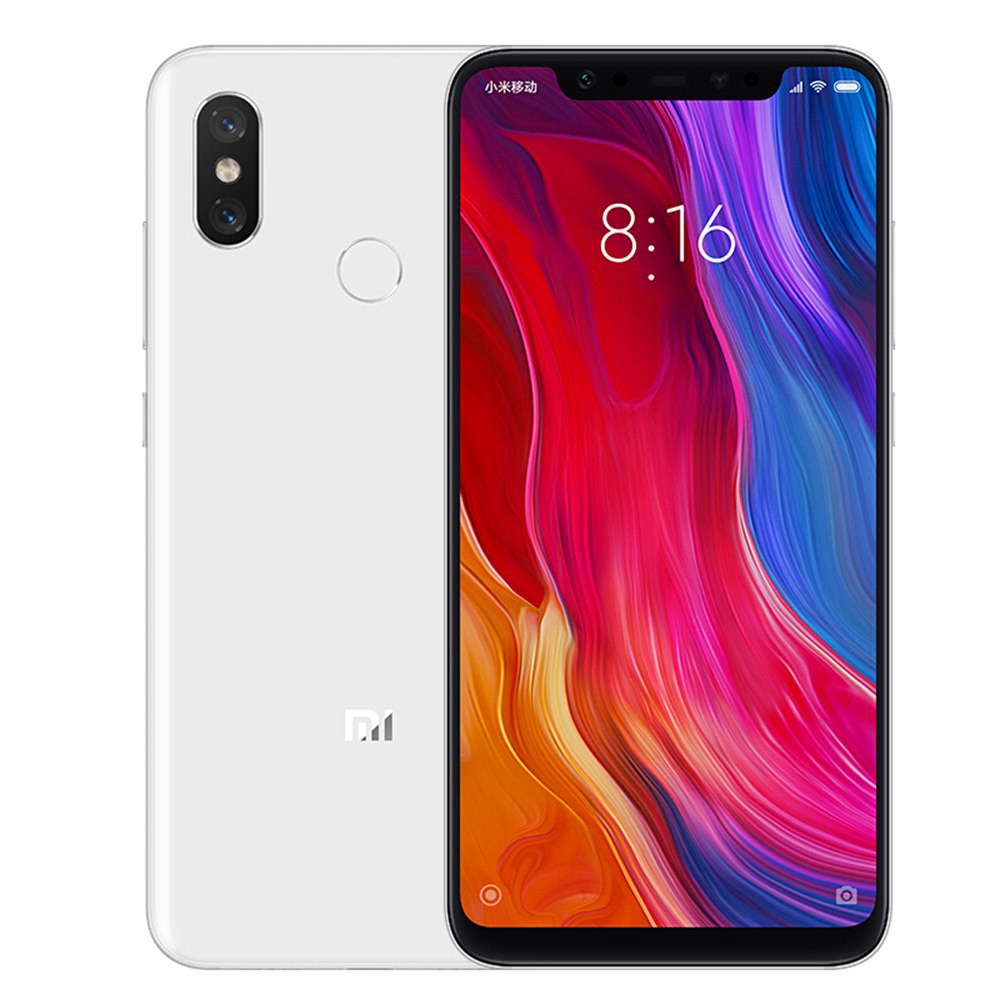 Xiaomi Mi 8 6.21 Inch 4G LTE Smartphone Snapdragon 845 6GB 256GB Dual 12MP Rear Cameras MIUI 9 AMOLED Screen Face ID Type-C Fast Charge English Chinese Version - White