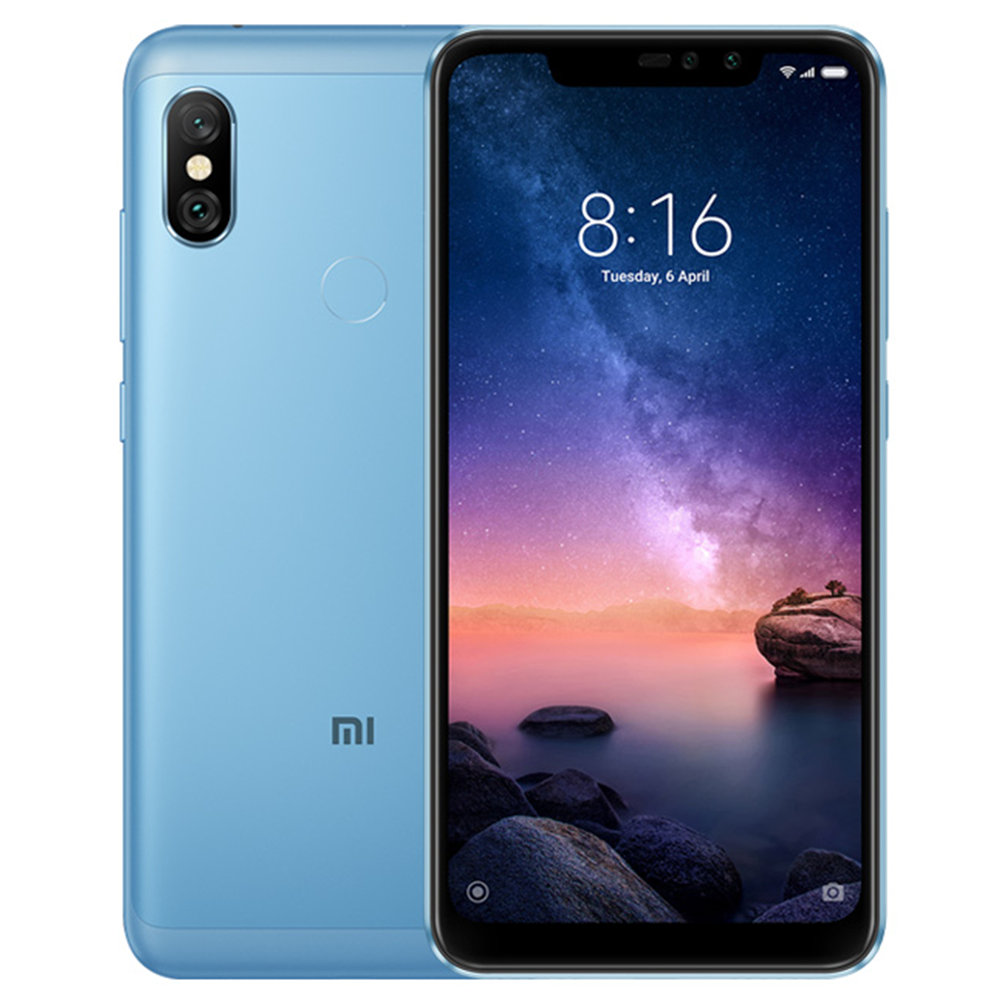 Xiaomi Redmi Note 6 Pro 6.26 Inch 4G LTE Smartphone Snapdragon 636 4GB 64GB 12.0MP + 5.0MP Dual Rear Cameras MIUI 9 Face ID FHD+ Screen Global Version - Blue