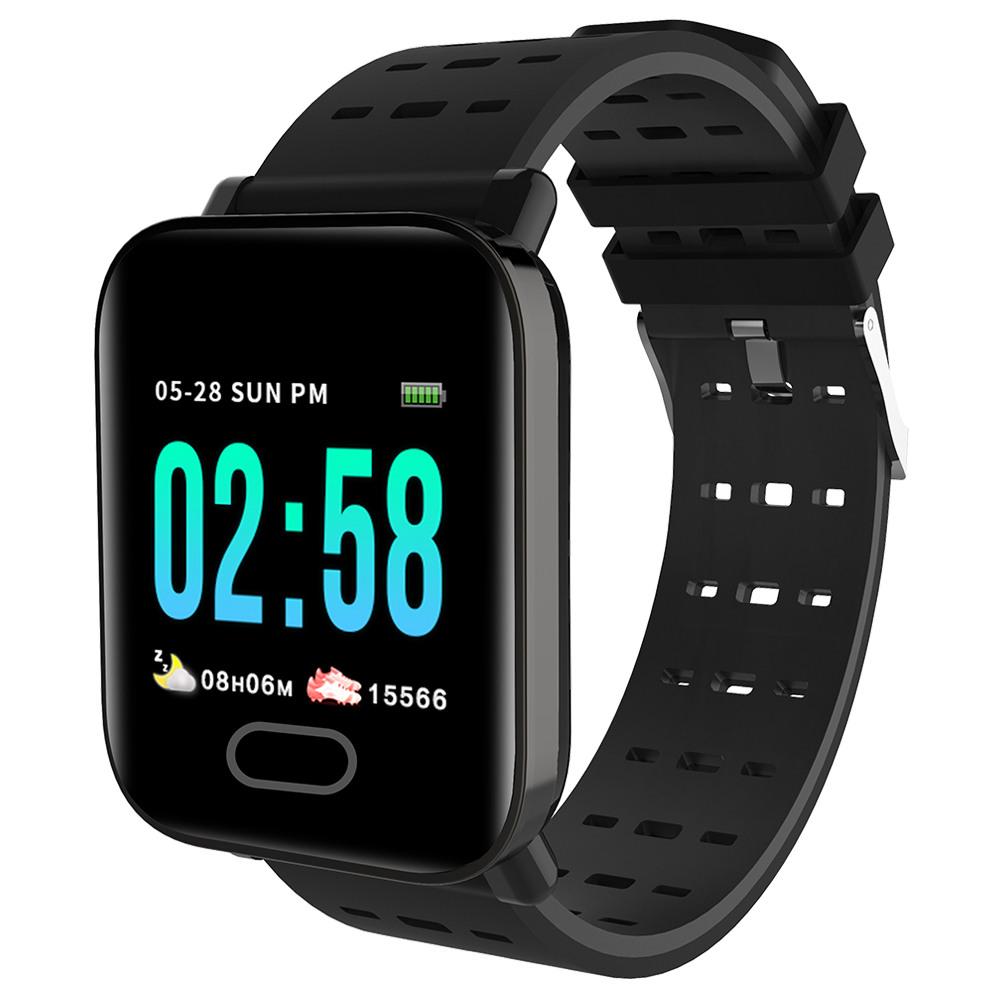 Makibes HR4 Smartwatch 1.3 Inch TFT Screen Fitness Tracker Blood Pressure Heart Rate Monitor IP67 Waterproof - Black