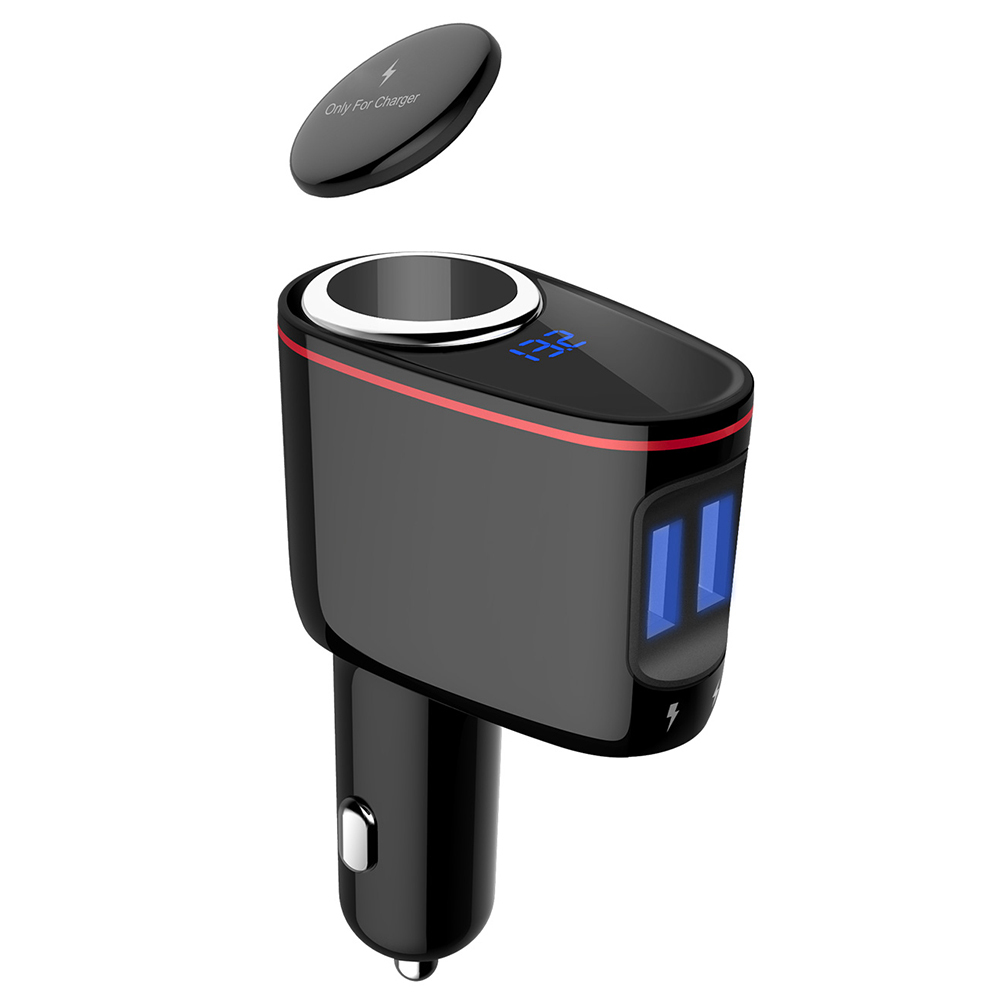 S-06A Quick Charging QC3.0 Car Charger 30W Dual USB Ports Cigarette Lighter Blue LED Display IOS / Android - Black