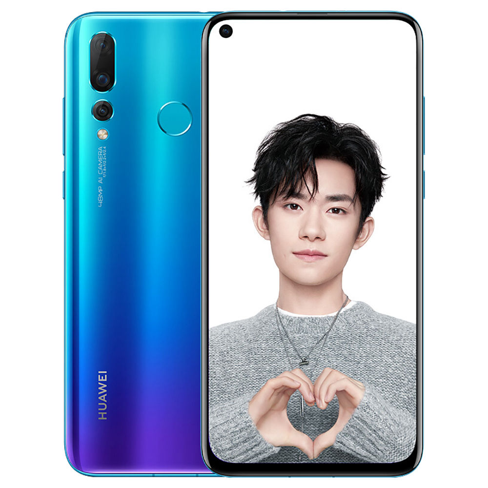 HUAWEI Nova 4 Hole-punch Display 6.4 Inch 4G LTE Smartphone Kirin 970 8GB 128GB 20.0MP+16.0MP+2.0MP Triple Rear Cameras Android 9.0 Touch ID Type-C - Blue