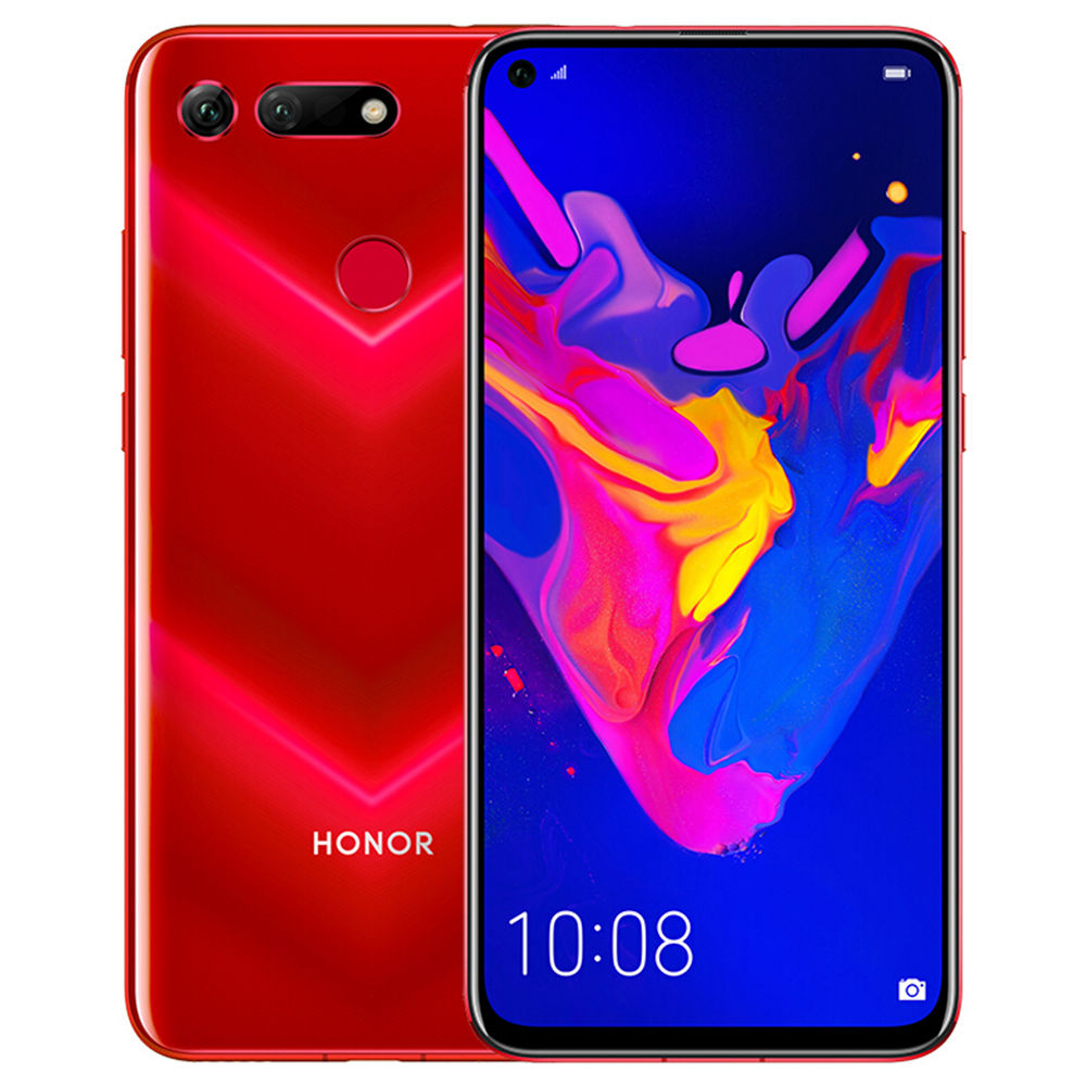 HUAWEI Honor V20 CN Version Hole-punch Display 6.4 Inch 4G LTE Smartphone Kirin 980 8GB 128GB 48.0MP+TOF Dual Rear Cameras Android 9.0 NFC Type-C Fast Charge - Red