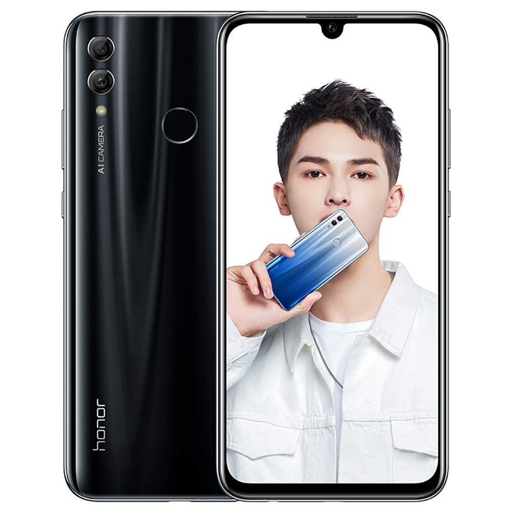 HUAWEI Honor 10 Lite CN Version 6.21 Inch 4G LTE Smartphone Kirin 710 4GB 64GB 13.0MP+2.0MP Dual Rear Cameras Android 9.0 Touch ID - Black
