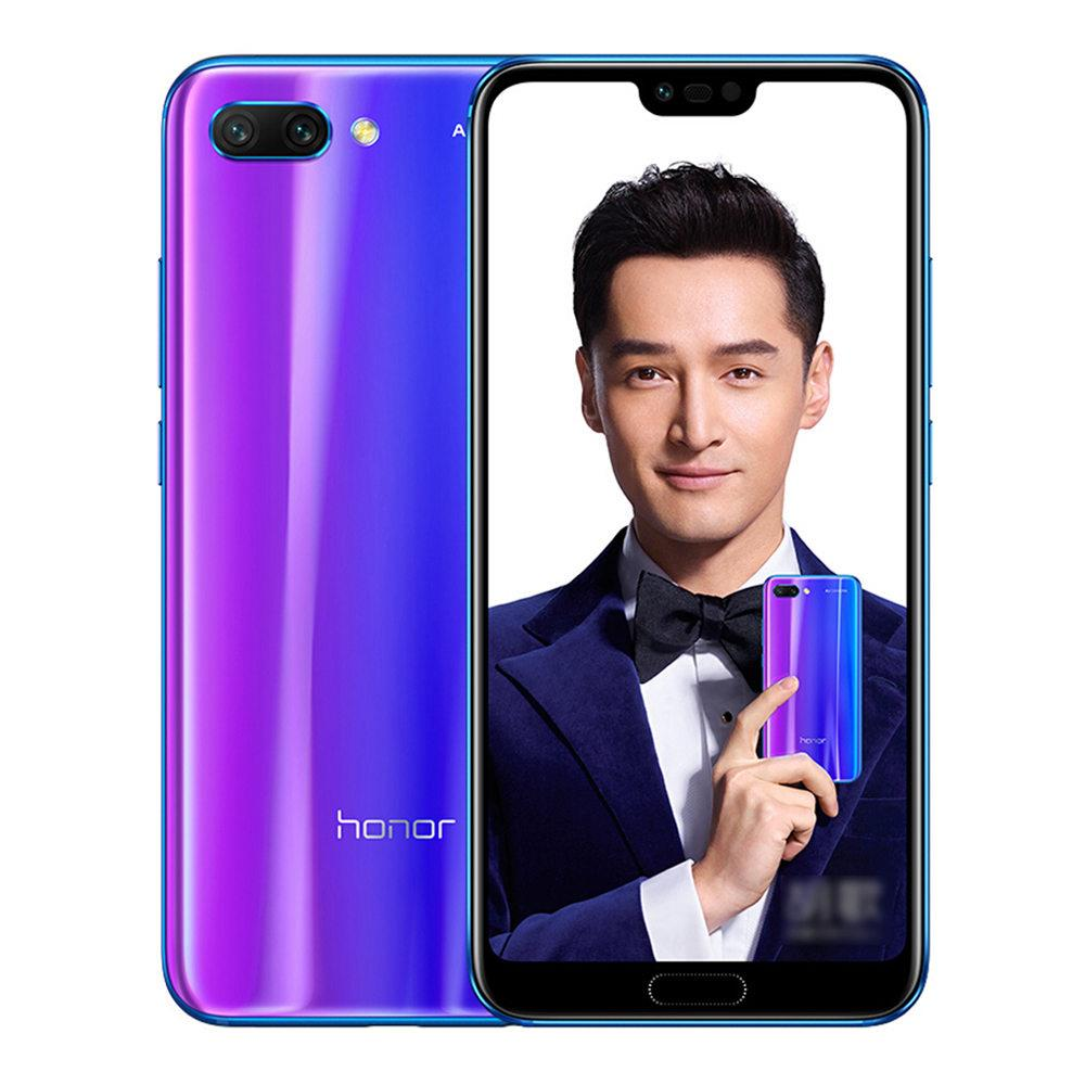HUAWEI Honor 10 5.84 Inch Smartphone Kirin 970 4GB 128GB 16.0MP+24.0MP Dual Rear Cameras Android 8.1 FHD+ Screen OTG Touch ID Type-C Global Version - Blue