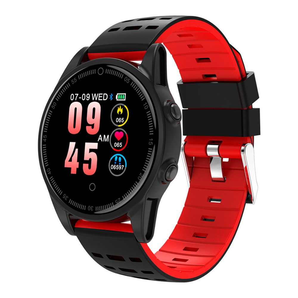 R13 Pro SmartWatch 1.22 Inch IPS Screen IP67 Heart Rate Blood Pressure Monitor Silicon Strap - Black&Red