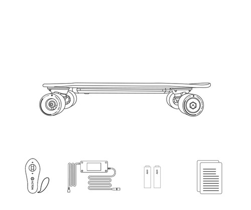Xiaomi ACTON Intelligent Electric Skateboard Wireless Remote Control Omnidirectional LED Light Group 12KM Endurance - Grey + Green