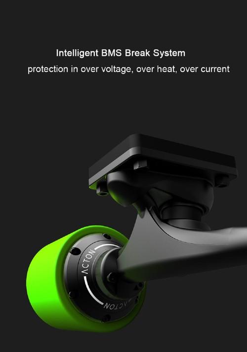 Xiaomi ACTON Smart Electric Skateboard Wireless Remote Control Omnidirectional LED Light Group 12KM Endurance - Grey + Green