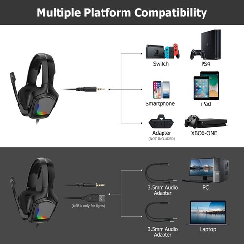 Onikuma K20 RGB Light Gaming Headset HD Stereo 3.5mm Audio with Mic for PS4 Xbox One Switch - Black