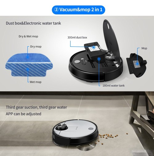 Proscenic M6 Pro LDS Robot Vacuum Cleaner with Laser navigation, 2600Pa Powerful Suction, App Support, Alexa Control, Multi Mapping, Ideal for Pets Hair, Hard Floor, Carpet