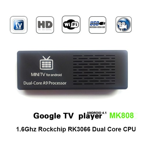 MK808 Dual Core Android 4 2 Jelly Bean TV BOX RK3066 Cortex-A9 Mini PC  Stick Support Skype Live Chat