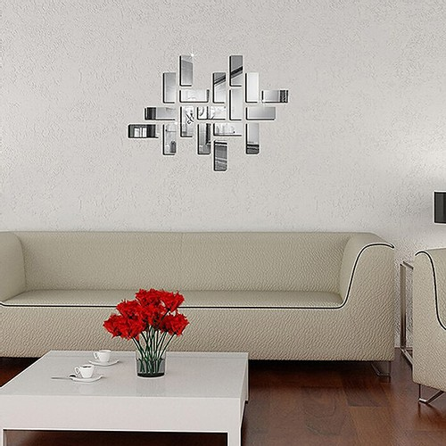 18 PX 3D Square Home Decal Crystal Mirror DIY Стикер стены - серебристый