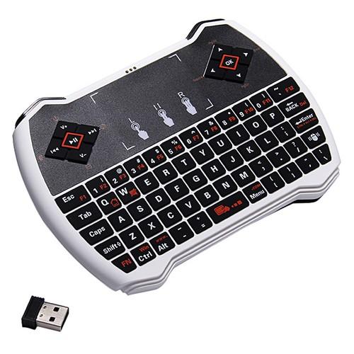V6A 2.4GHz Mini clavier QWERTY sans fil Touchpad Clavier Air Mouse Télécommande pour ordinateur portable TV Box Tablet Blanc + Noir