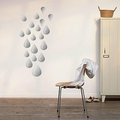 3D Mirror Raindrop Acrylic Wall Stickers DIY Decal Mural Bathroom Decoration