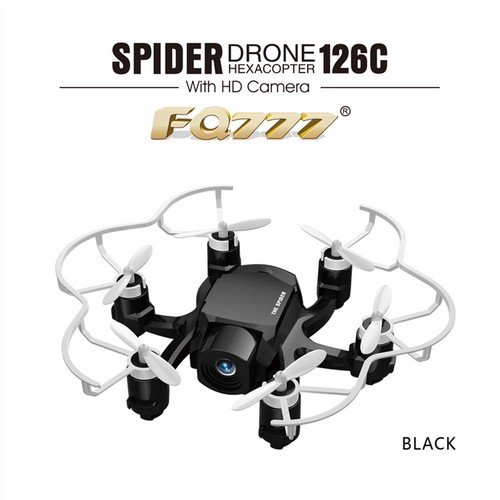 FQ777-126C MINI Spider Drone 2MP HD Camera 3D Roll One Key to Return Dual Mode 4CH 6Axis Gyro RC Hexacopter - Black