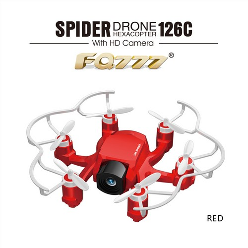 FQ777-126C MINI Spider Drone 2MP HD Camera 3D Roll One Key to Return Dual Mode 4CH 6Axis Gyro RC Hexacopter - Red