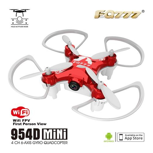 FQ777-954D WIFI FPV Camera Altitude Hold Mode 3D Flip 6-AXIS GYRO RC Nano Quadcopter BNF - Red