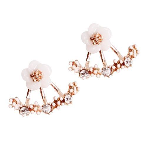 Cute Daisy Flower Rhinestone Ear Stud Earrings for Women - Rose Golden