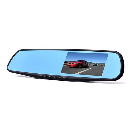 "RM-LC2010 4.3"" FHD 1080P Dual Lens Rearview Mirror Car DVR Black"