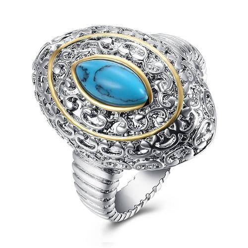 GEMR012-C-8 Turquoise Ring Fashion Stylish Ring Oval Shape -Silver