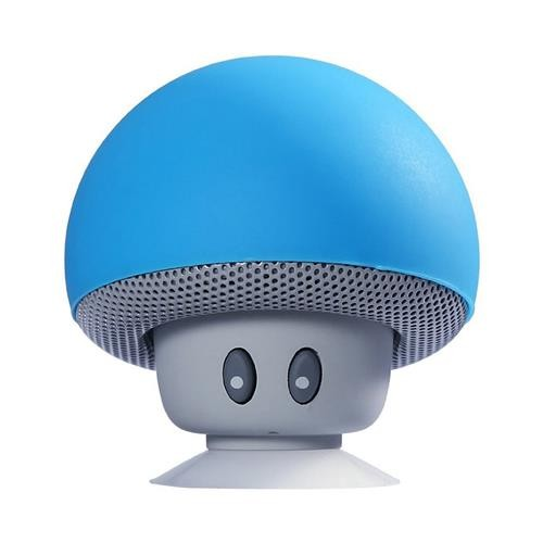 Mini Wireless Bluetooth Mushroom Portable Speaker with Mic Blue
