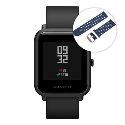 [Package B]Huami Amazfit Bip Bluetooth 4.0 IP68 Sports Smart Watch GPS Glonass Heart Rate Monitor 45 Days Standby Global ROM - Black+Smart Watch Replacement Strap(Blue+White)
