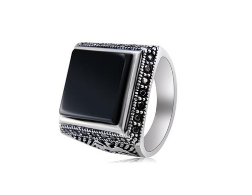 Baoqina Square Black Agate Gem Men's Ring Decorated Retro Alloy Size 8 - Black