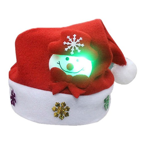 1Pc Adult Children LED Christmas Hat Santa Claus Elk Snowman Party Kids Cap Gift