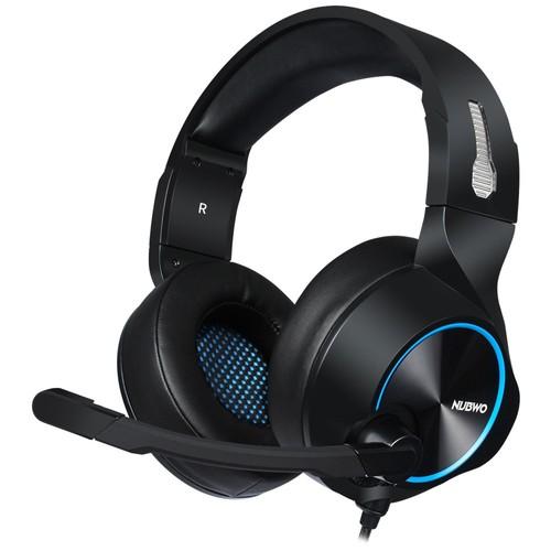 Nubwo N11U Игровая гарнитура с микрофоном Интерфейс USB Провод управления Светодиодные наушники - черный синий