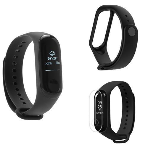 [Package D] Original Xiaomi Mi Band 3 Smart Bracelet (Black) + Replacement Strap (Black) + Protective Screen Film (Transparent)