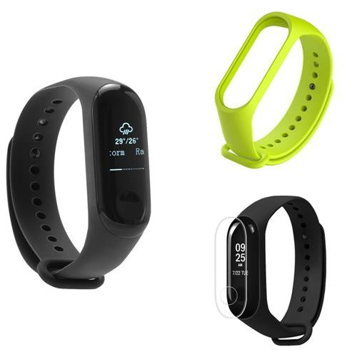 [Package E] Original Xiaomi Mi Band 3 Smart Bracelet (Black) + Replacement Strap (Green) + Protective Screen Film (Transparent)