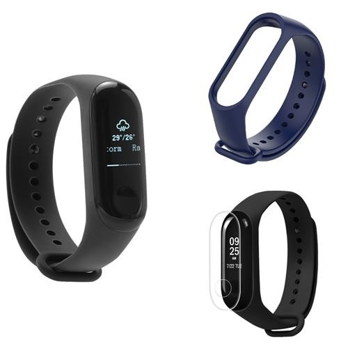 [Package C] Original Xiaomi Mi Band 3 Smart Bracelet (Black) + Replacement Strap (Blue) + Protective Screen Film (Transparent)