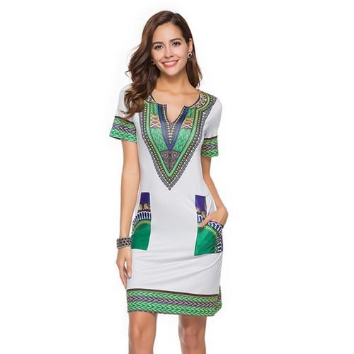 Women Tunic Beach Dress Print Dress Robe Femme Dress Size M Gray